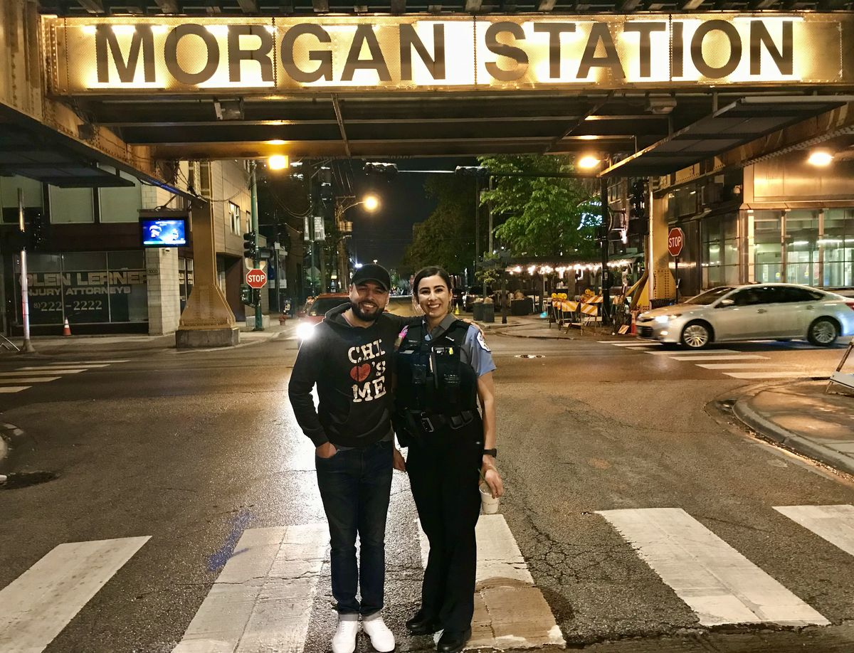 Leo Vega and Officer Ella French in the West Loop two years ago.