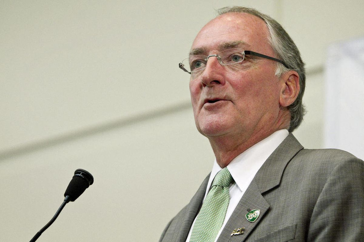 Notre Dame athletic director Jack Swarbrick speaks during a news conference, Wednesday, Sept. 12, 2012, in South Bend, Ind. The school announced that it would join the Atlantic Coast Conference in all the conference's sports except football, though it wil