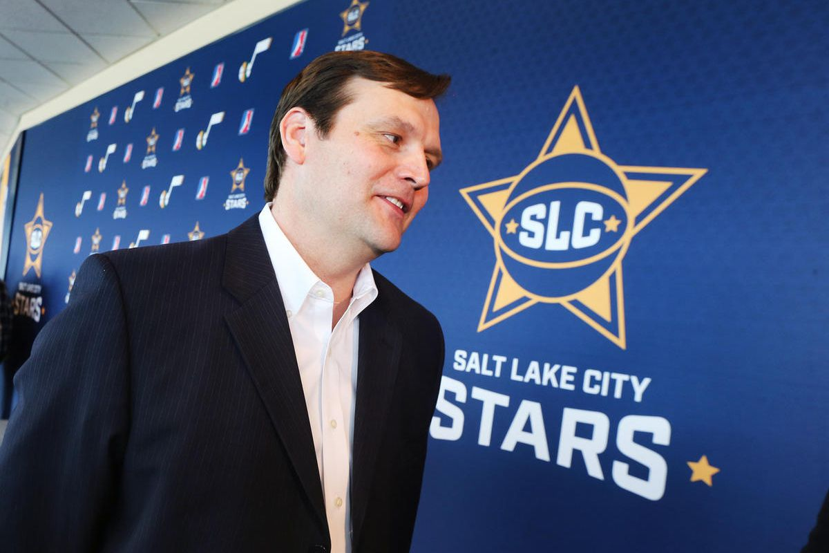 Dennis Lindsey, General Manager, Utah Jazz speaks to members of the media of the benefits of the move as they announce that the team's developmental team is moving to SLCC and will be known as the Salt Lake City Stars. The announcement was made at a press