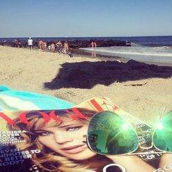 Reading my September issue on the beach, and getting through my email!  It was such a cool afternoon on the beach and it felt great—not at all like an August afternoon!