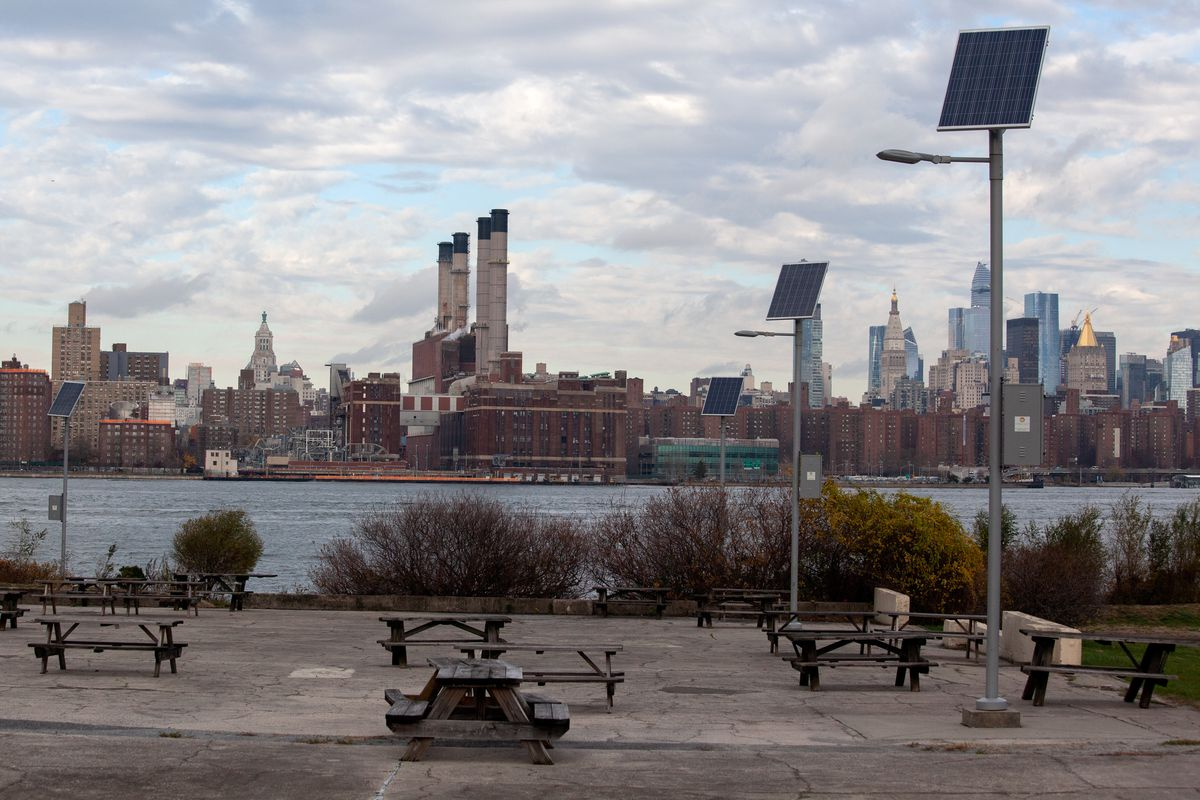 Solar panels in Brooklyn's Marsha P. Johnson State Park frame a Con Edison substation in the East Village.