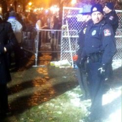 Columbus law enforcement guard the gates.