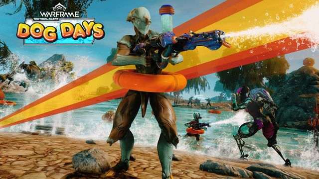 Warframe - A promotional image for Dog Days, with a player's Warframe shooting a water gun and wearing a floating tube. Other Warframes play and frolic in the background.