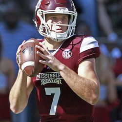 Mississippi State quarterback Nick Fitzgerald (7) prepares to pass during the first half of an NCAA college football game against BYU in Starkville, Miss., Saturday, Oct. 14, 2017. (AP Photo/Jim Lytle)