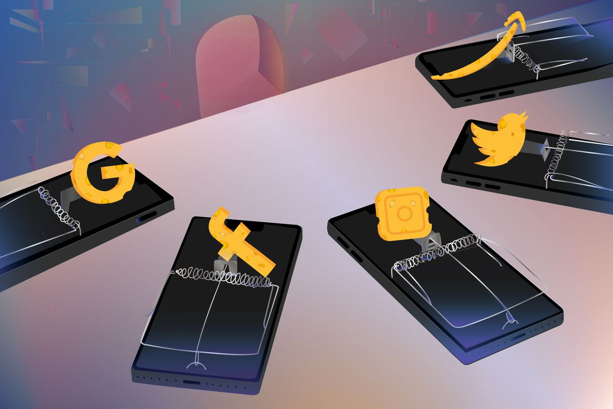 A collection of mousetraps capturing different social media logos placed on a table.