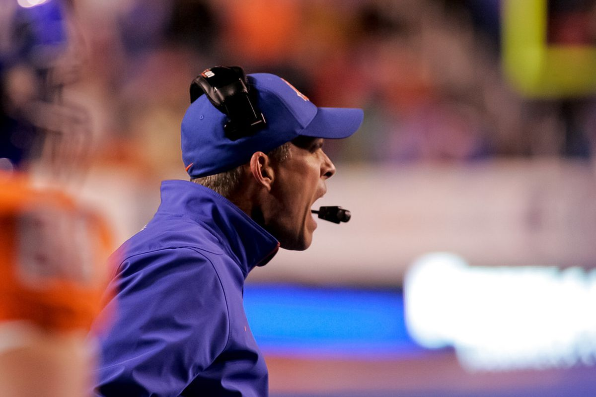 BOISE, ID - DECEMBER 03: Head Coach Chris Petersen of the Boise State Broncos reacts to a call during the game against the New Mexico Lobos at Bronco Stadium on December 3, 2011 in Boise, Idaho.  (Photo by Otto Kitsinger III/Getty Images)