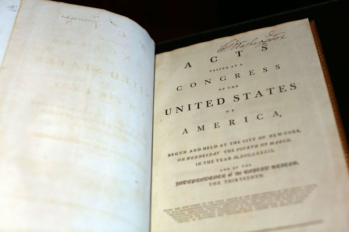 A copy of former President George Washington's personal copy of the Constitution and Bill of Rights.