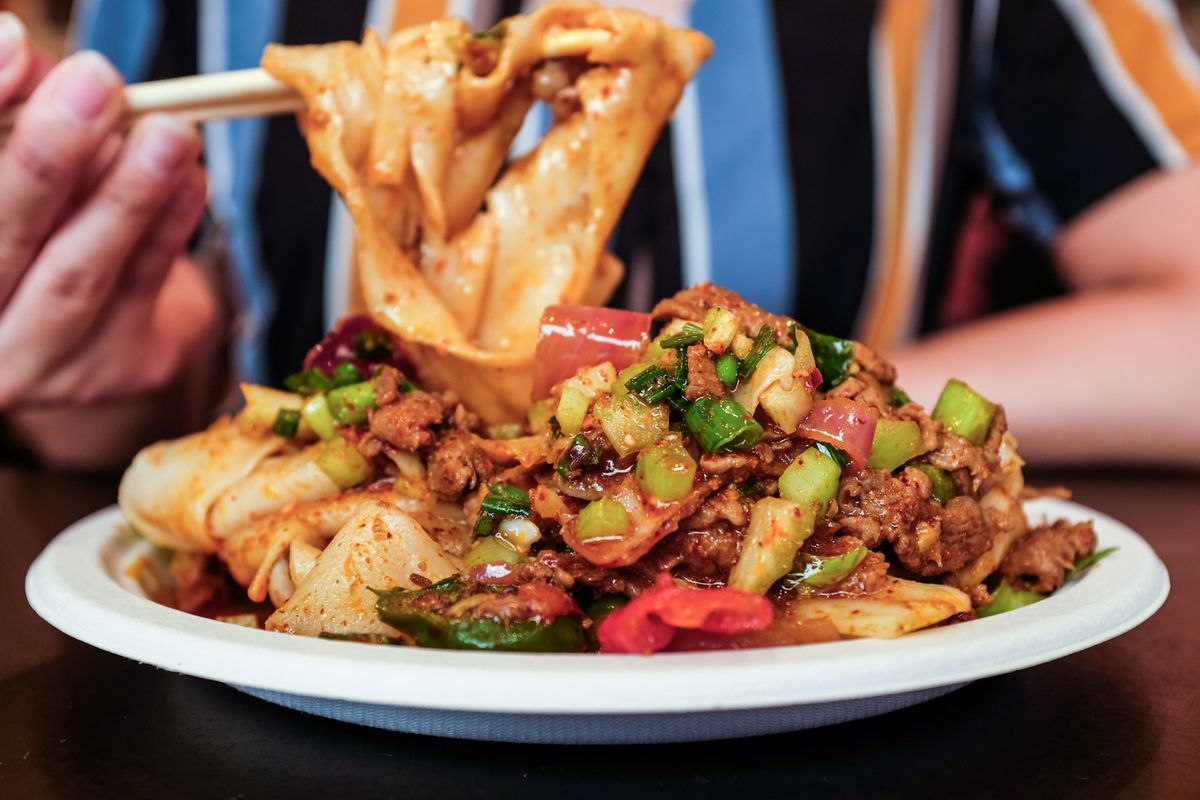 Xi'an Famous Foods cumin lamb noodles
