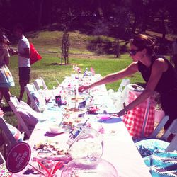 Guests stopped by the treat-filled picnic table to replenish