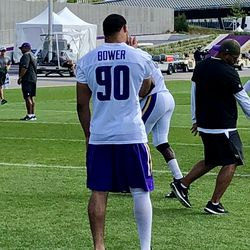 Tashawn Bower with bandage on leg today - not participating