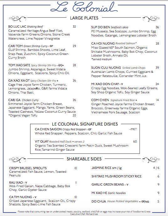 Menu of entrees, shared plates, and signature Le Colonial dishes