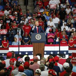 President Donald Trump speaks during a campaign rally at the BOK Center, Saturday, June 20, 2020, in Tulsa, Okla.