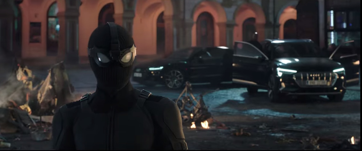 Spider-Man in a black tactical turtleneck in 'Spider-Man: Far From Home'