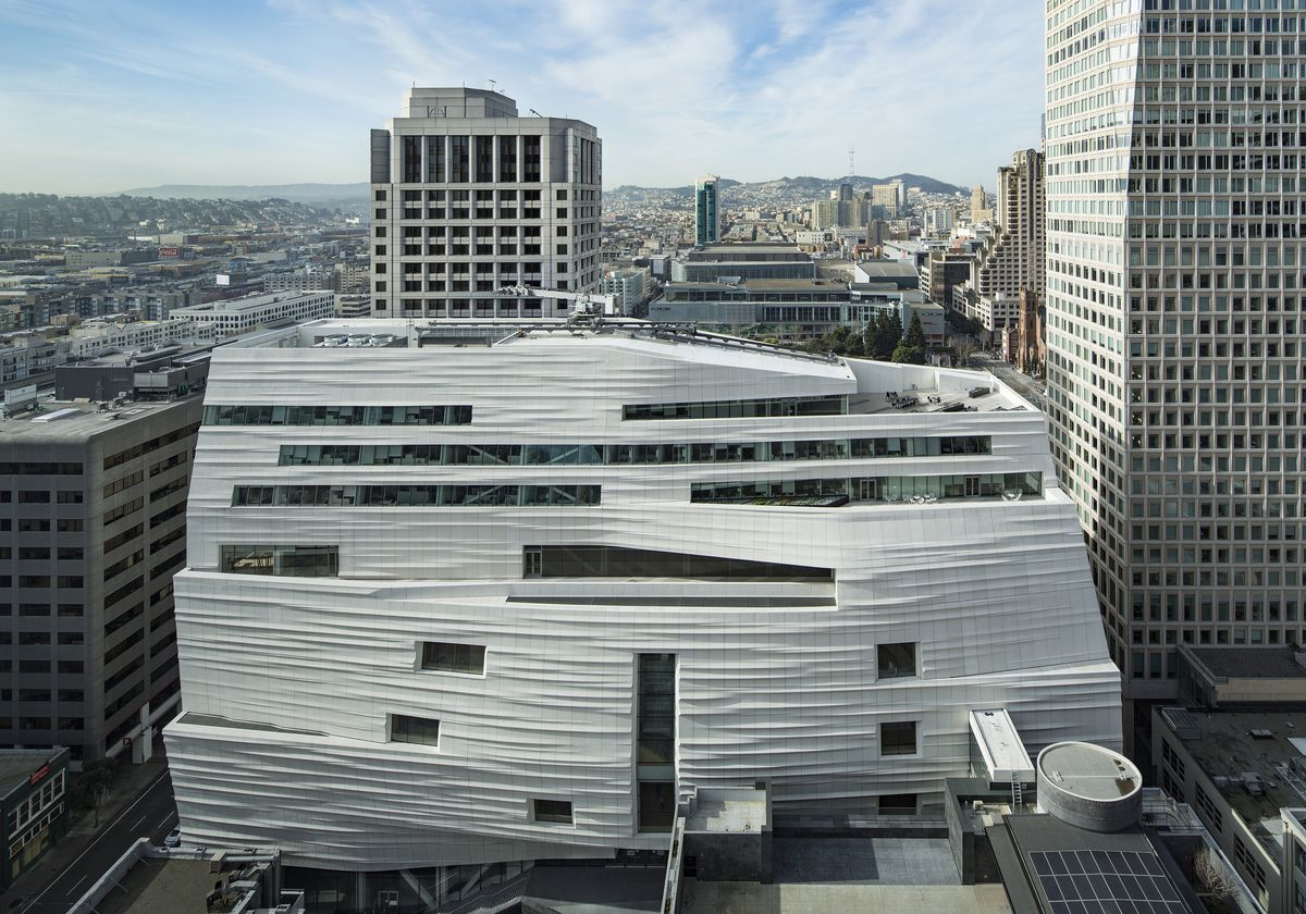 The exterior of the San Francisco Museum of Modern Art. The facade is white and striated.