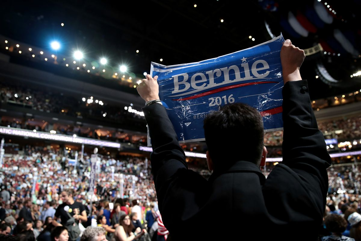 A Bernie Sanders sign held up at the DNC convention.