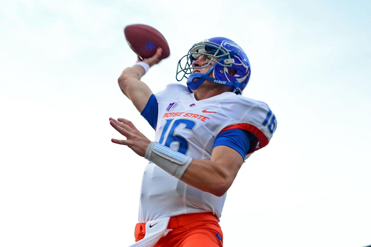Aug 31, 2012; East Lansing, MI, USA; Boise State Broncos quarterback Joe Southwick (16) warms up prior to the game against the Michigan State Spartans at Spartan Stadium. Mandatory Credit: Andrew Weber-US Presswire