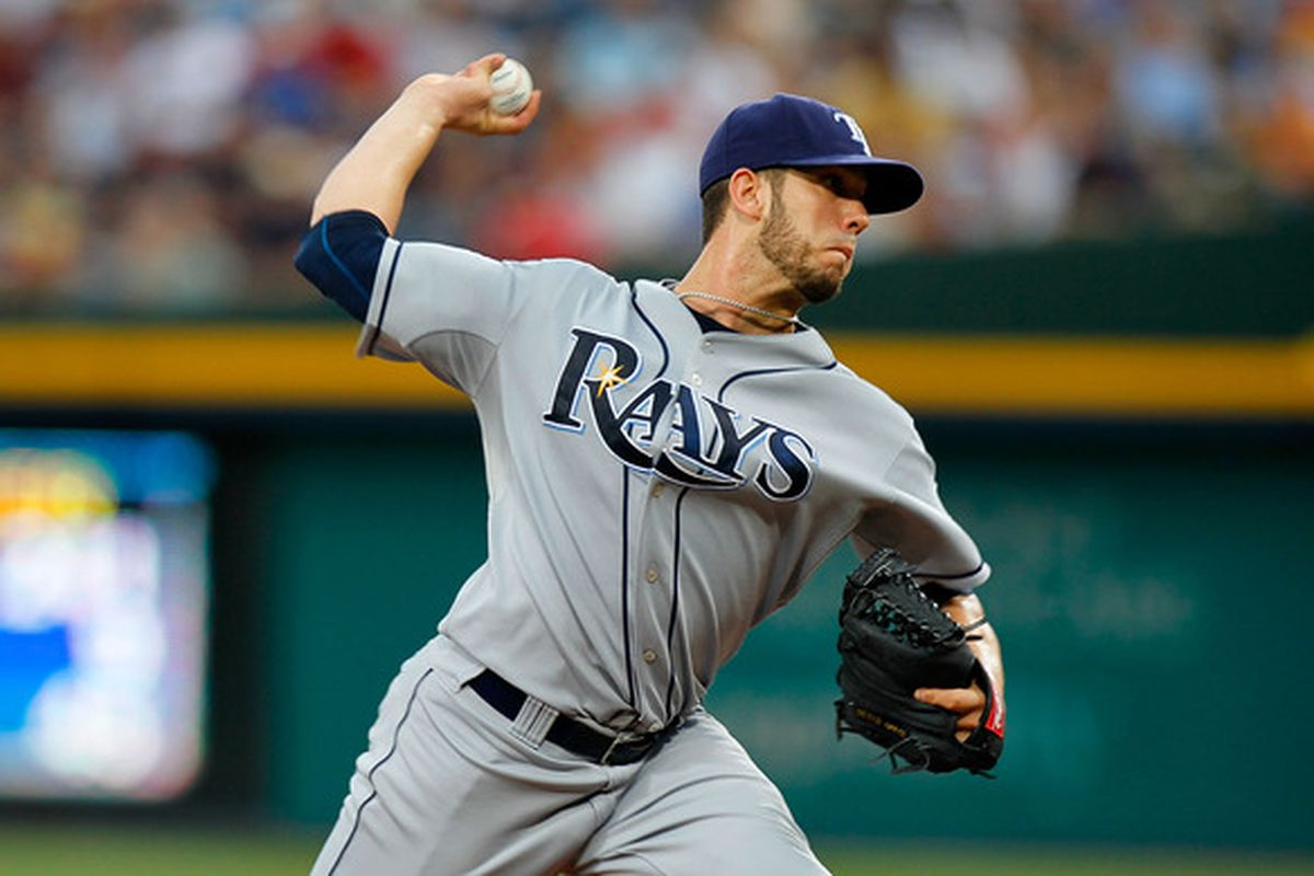 ATLANTA - JUNE 17:  Starting pitcher James Shields #33 of the Tampa Bay Rays pitches against the Atlanta Braves at Turner Field on June 17, 2010 in Atlanta, Georgia.  (Photo by Kevin C. Cox/Getty Images)