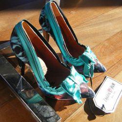 Teal bow heels, $99
