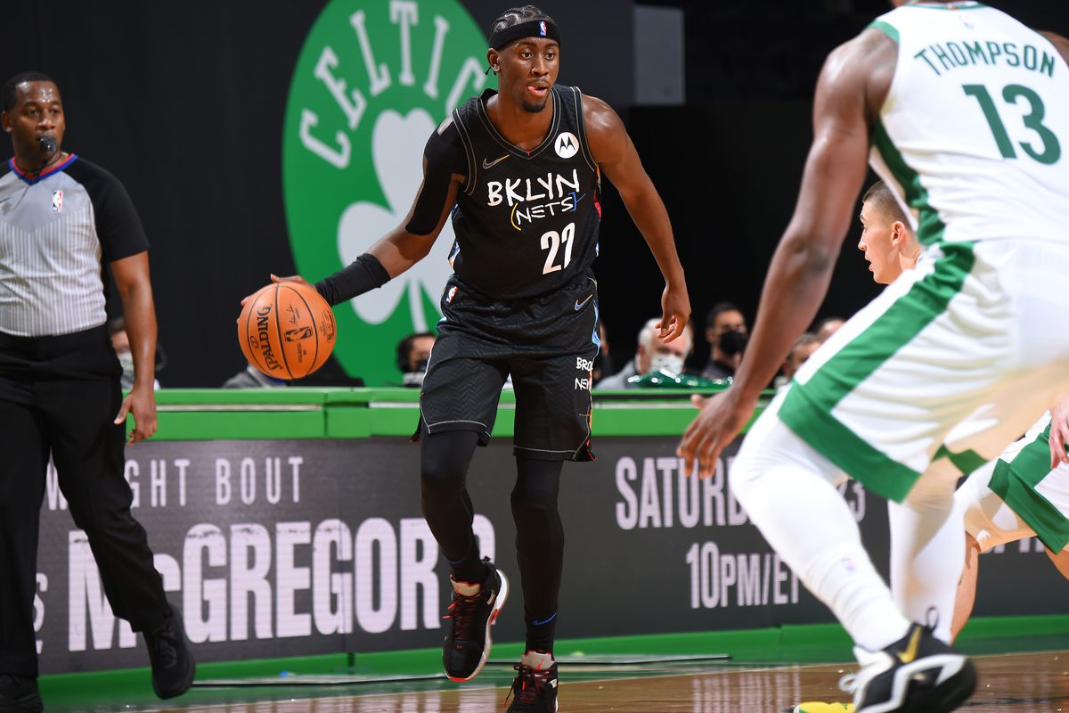 Caris LeVert of the Brooklyn Nets handles the ball against the Boston Celtics during a game on December 25, 2020 at the TD Garden in Boston, Massachusetts.