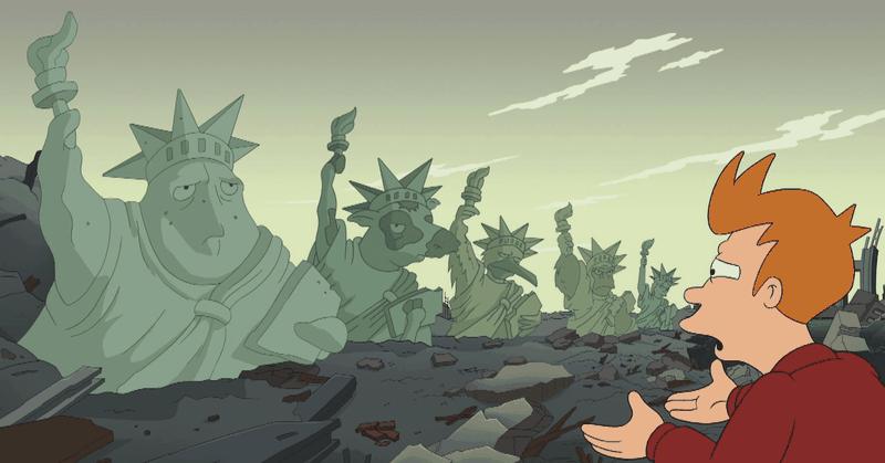 A scene from Futurama