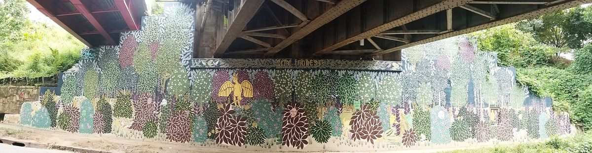 """Catanese's """"City in a Forest"""" on Ralph McGill Boulevard, beneath the Beltline's Eastside Trail."""