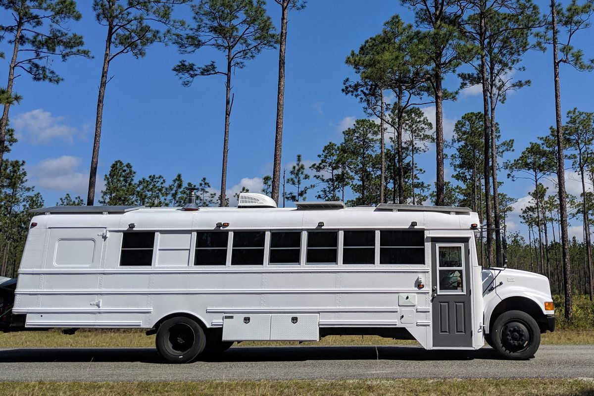 Converted school bus camper is a cozy tiny home on wheels
