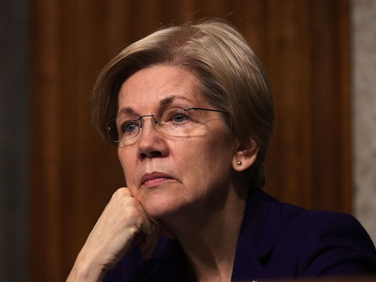 U.S. Sen. Elizabeth Warren listens during a hearing before Senate Armed Services Committee in February 2017 on Capitol Hill in Washington, DC.