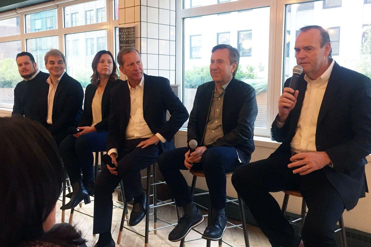 From left to right: Matt Lambert, Gabriel Kreuther, Melissa Rodriguez, Michael Ellis, Daniel Boulud, and Charlie Palmer
