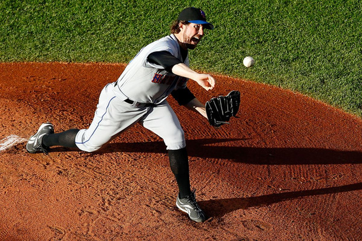 CLEVELAND - JUNE 17:  R.A. Dickey #43 of the New York Mets pitches against the Cleveland Indians during the game on June 17, 2010 at Progressive Field in Cleveland, Ohio.  (Photo by Jared Wickerham/Getty Images)