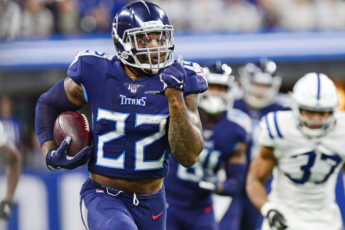 Tennessee Titans running back Derrick Henry runs for a big gain against the Indianapolis Colts in the second half at Lucas Oil Stadium.