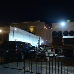 8:21 p.m. The broadcast lot on Waveland -