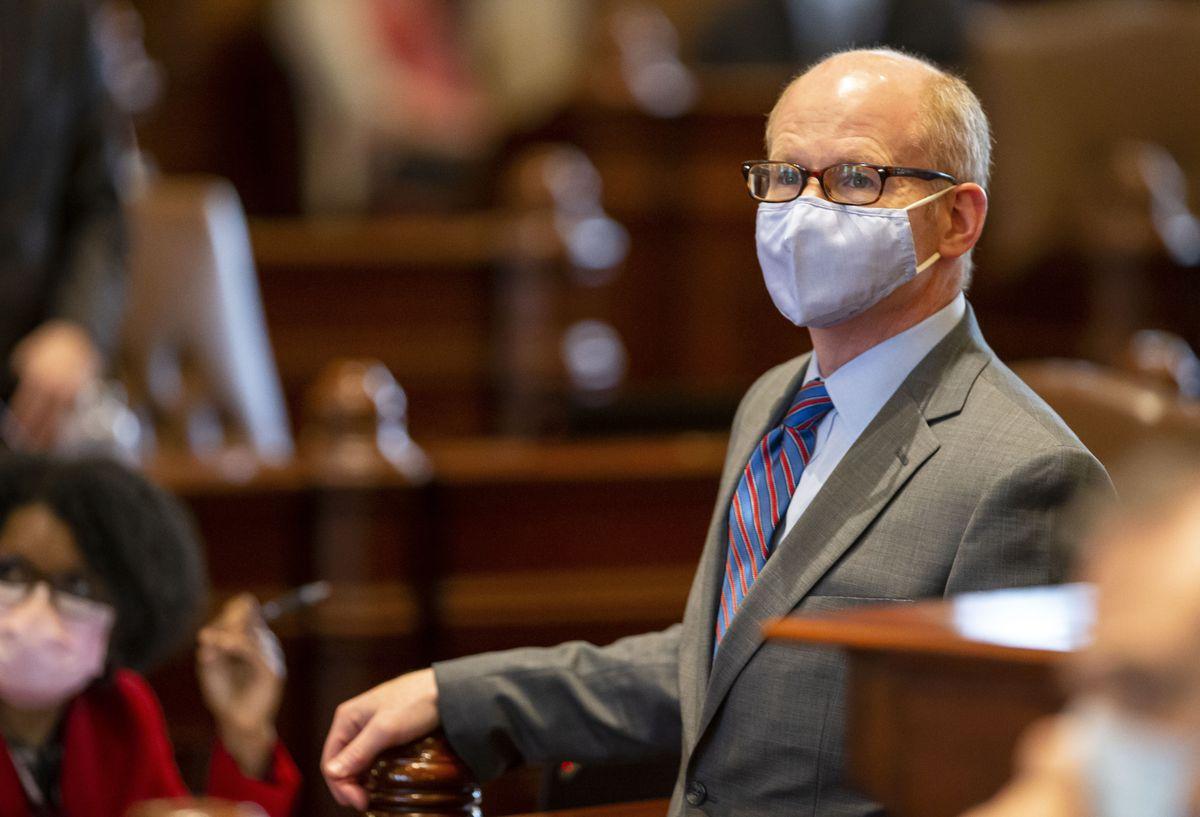 State Senate President Don Harmon, D-Oak Park, stands on the floor of the Senate in June.