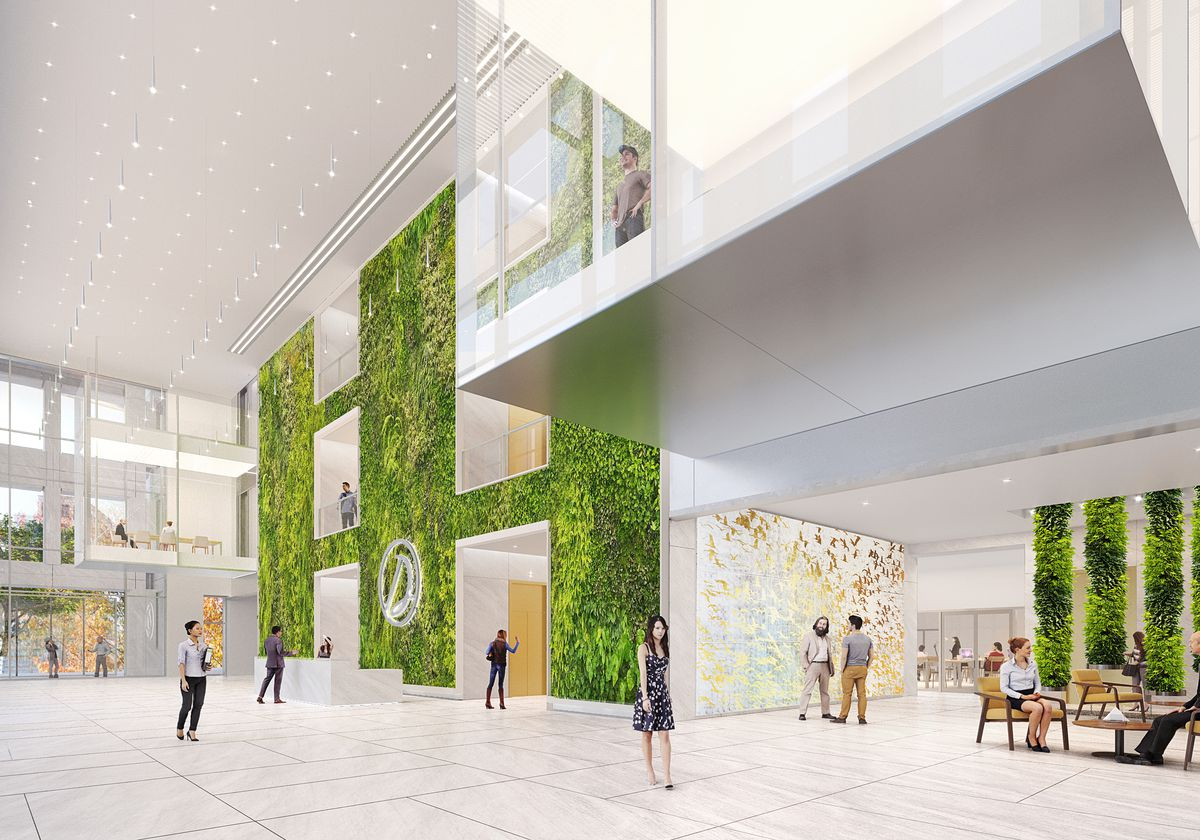 Another rendering of the lobby shows how long glass windows will provide views of the Midtown streetscape.