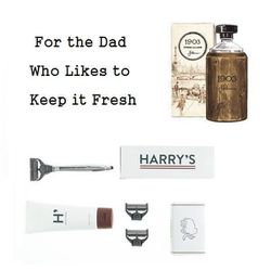 """<b>Harry's</b> Winston Shave Set, $25 at <a href=""""http://www.jcrew.com/mens_feature/thefathersdayshop/forthedadwhomeansbusiness/PRDOVR~06495/06495.jsp"""">J.Crew</a> and 1903 Woody Vintage Cologne, $62 at <a href=""""http://www.jpeterman.com/Mens-1903-Collectio"""