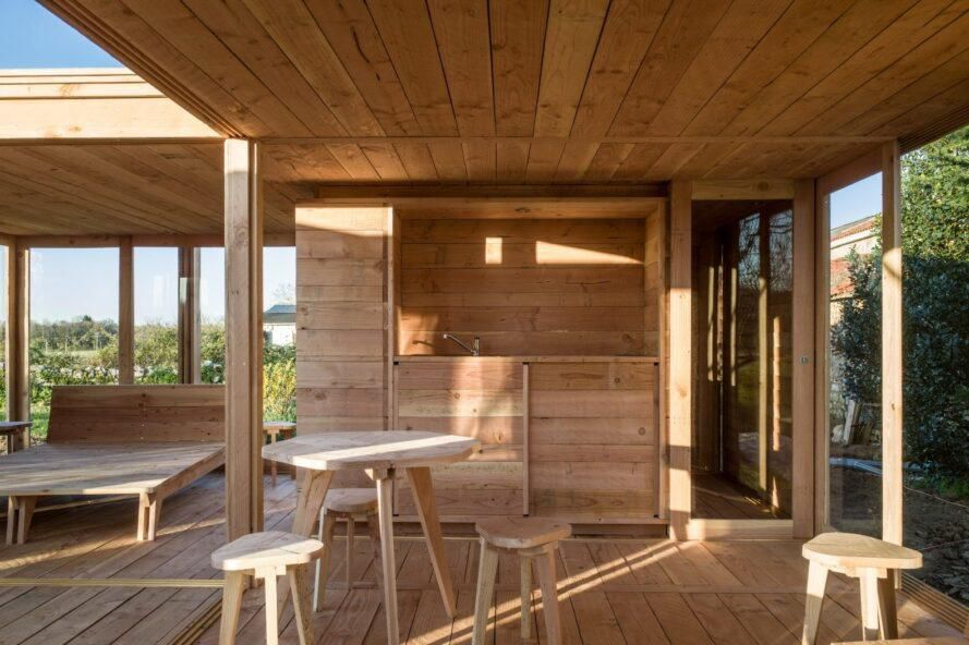 Kitchen clad in light timber