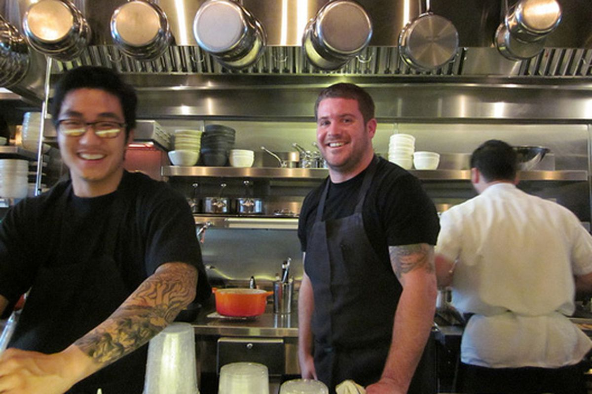 Chef Charlie Parker in the kitchen at Plum.