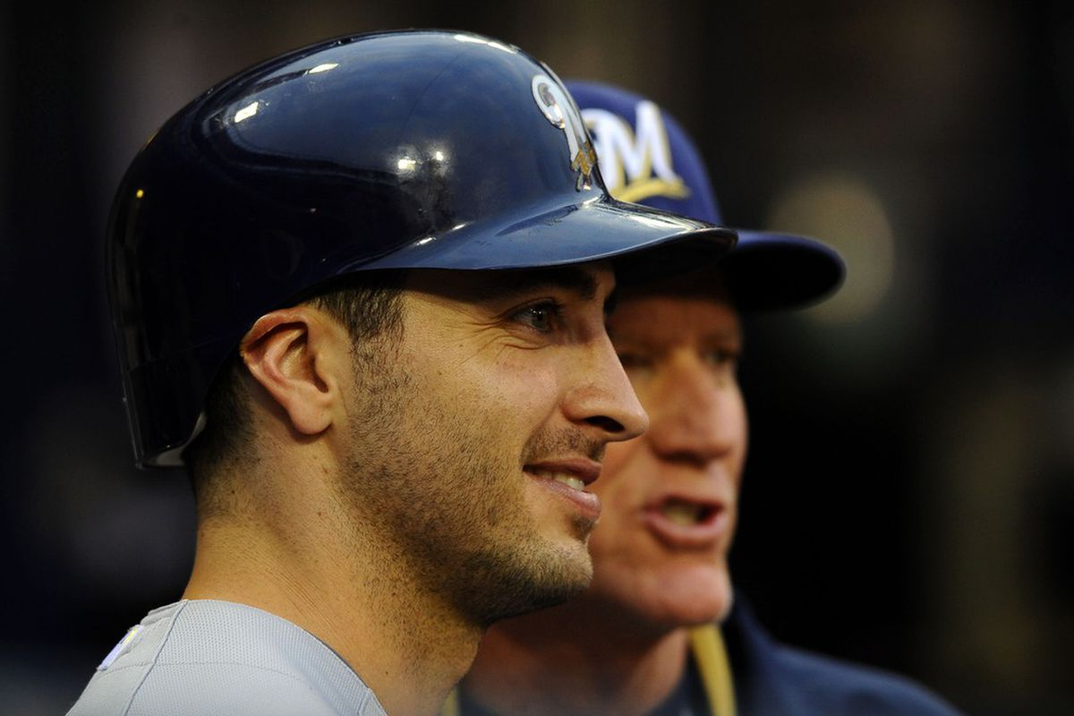 May 1, 2012; San Diego, CA, USA;  Milwaukee Brewers left fielder Ryan Braun (8) and manager Ron Roenicke (right) talk prior to the game against the San Diego Padres at Petco Park.  Mandatory Credit: Christopher Hanewinckel-US PRESSWIRE