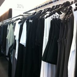 The womenswear upon entry. Lots of basic black, grey, whites...