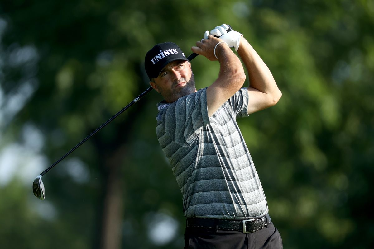 Ryan Palmer of the United States plays his shot from the third tee during the second round of the Workday Charity Open on July 10, 2020 at Muirfield Village Golf Club in Dublin, Ohio.