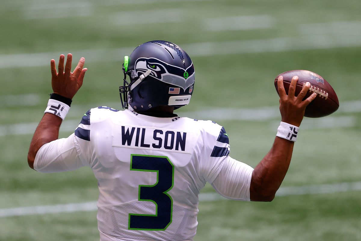 Russell Wilson #3 of the Seattle Seahawks warms up prior to facing the Atlanta Falcons at Mercedes-Benz Stadium on September 13, 2020 in Atlanta, Georgia.