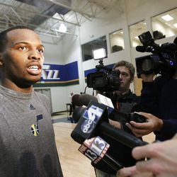 Shelvin Mack, Butler, talks with media after working out for the Jazz in Salt Lake City Sunday, May 29, 2011. In preparation for the 2011 NBA Draft, the Utah Jazz held pre-draft workouts for six players at Zions Bank Basketball Center.