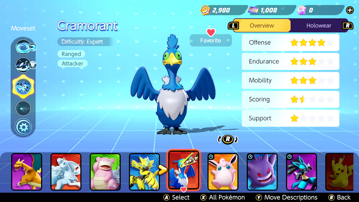 A Cramorant in Pokémon Unite