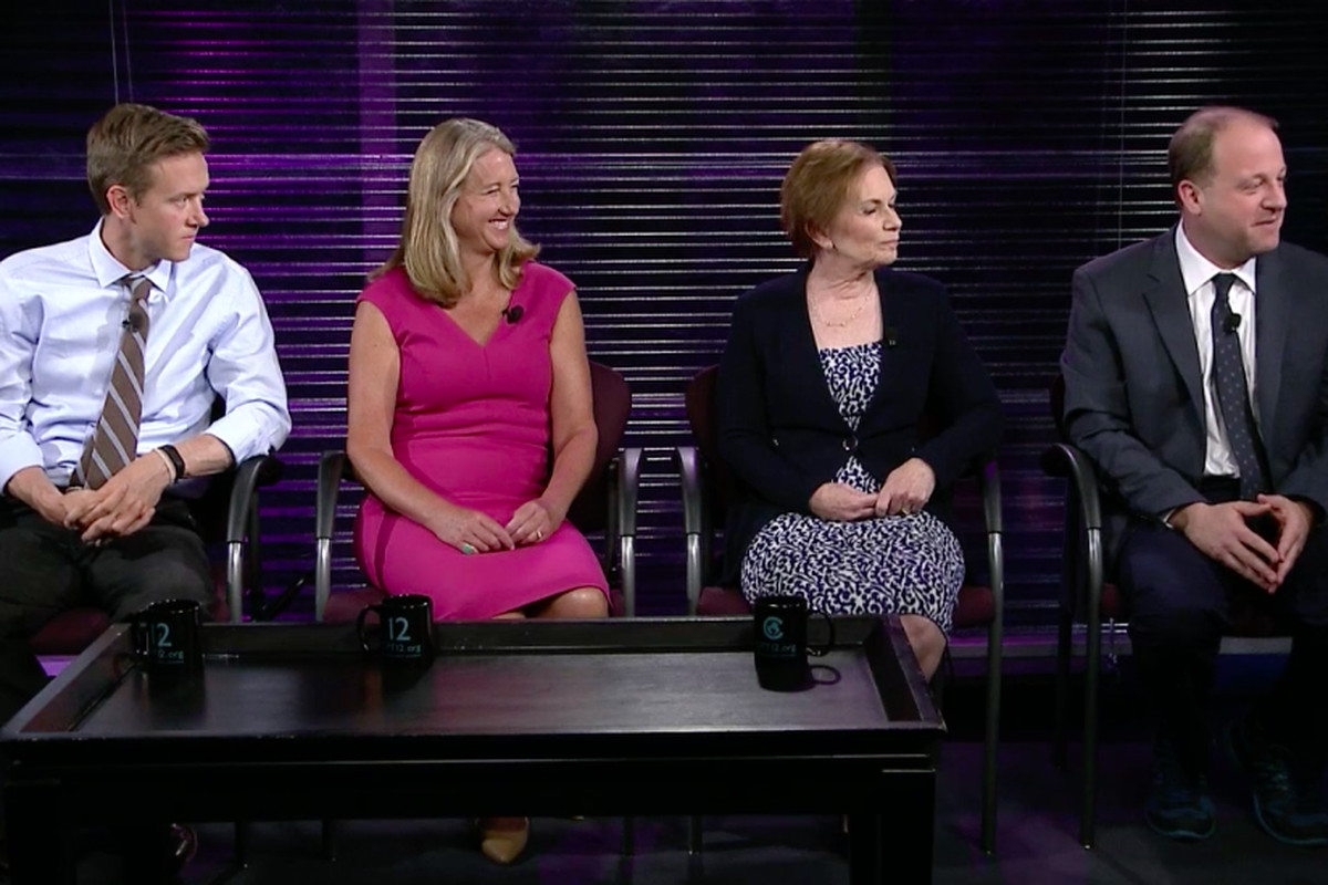The Democratic candidates for governor of Colorado have been sniping at each other over education policy. (Courtesy Colorado Public Television)