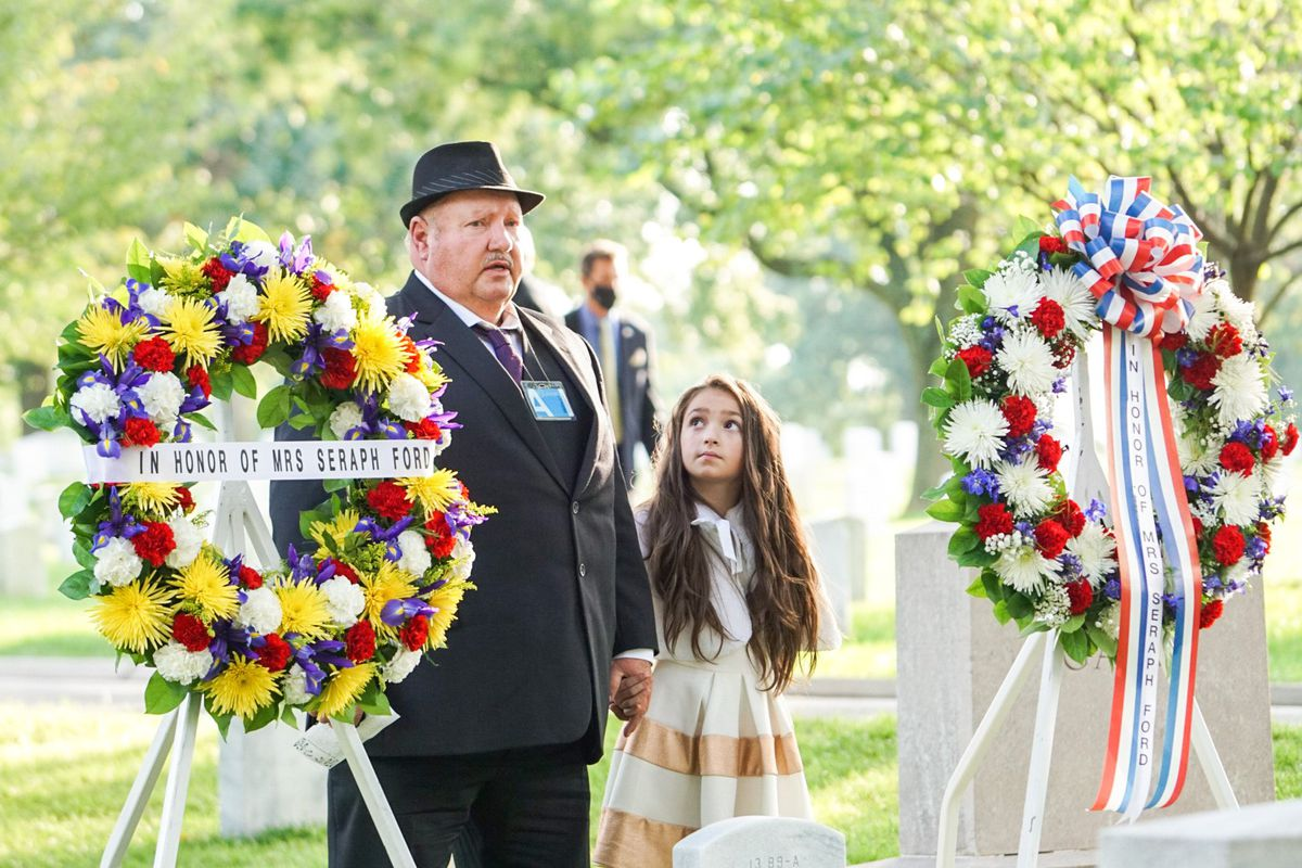 Russell Rice Jr., left, speaks as Hope Rice, right, listens during a ceremony honoring Utah's Seraph Young Ford at Arlington National Cemetery in Arlington, Va., on Tuesday, Sept. 29, 2020.Ford was the first woman to cast a ballot in the United States.
