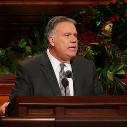 Brother Bradley R. Wilcox, second counselor in the Young Men general presidency, speaks during the Saturday evening session of the 191st Semiannual General Conference of The Church of Jesus Christ of Latter-day Saints in the Conference Center in Salt Lake City on Saturday, Oct. 2, 2021.