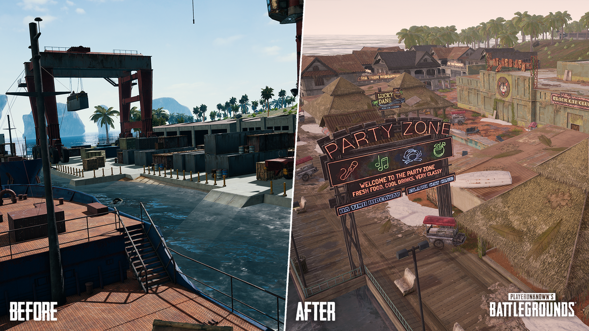 PUBG's Sanhok rework comparing the old Docks location with the new Getaway location