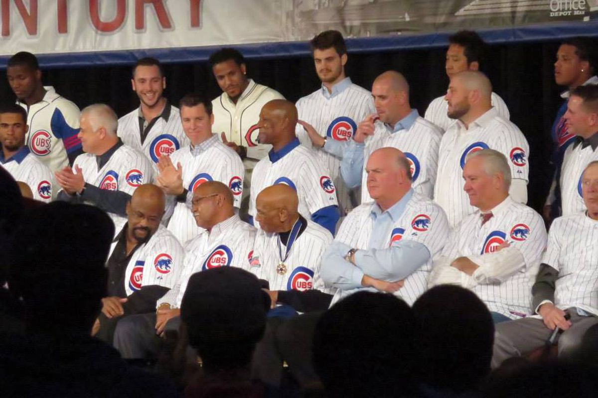 Present and past Cubs at the Convention. Ernie Banks (front, center) is wearing his Presidential Medal of Freedom