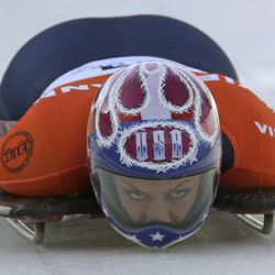 The United States' Noelle Pikus-Pace competes in the women's skeleton World Cup event Friday, Dec. 6, 2013, in Park City. Pikus-Pace came in first place.
