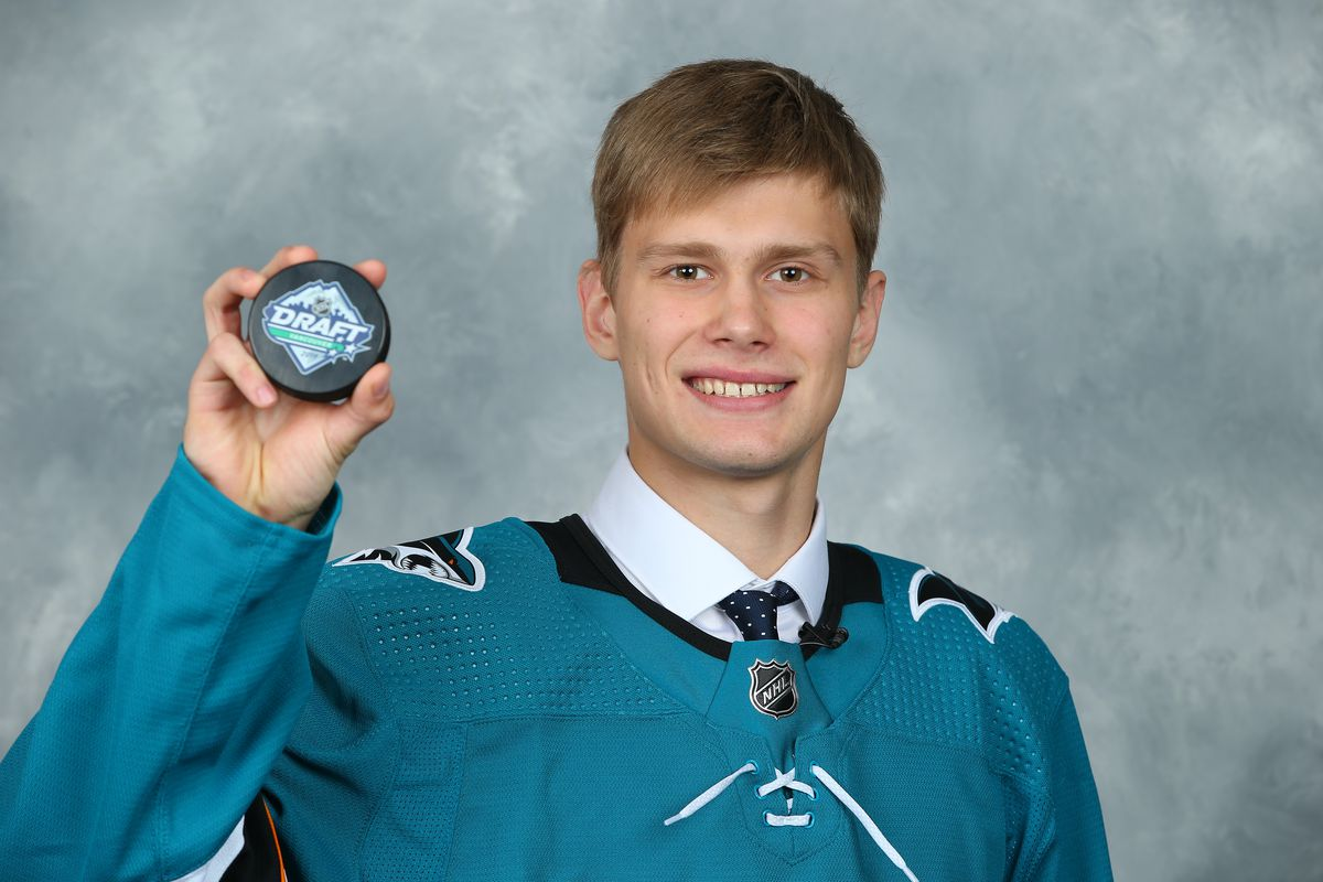 Yegor Spiridonov, 108th overall pick of the San Jose Sharks, poses for a portrait during Rounds 2-7 of the 2019 NHL Draft at Rogers Arena on June 22, 2019 in Vancouver, Canada.