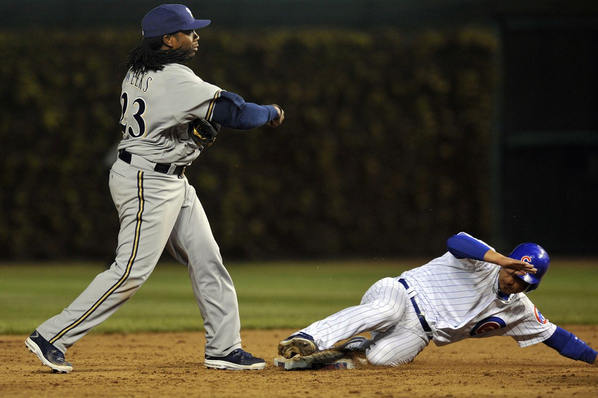 Chicago, IL, USA; Milwaukee Brewers second baseman Rickie Weeks forces out Chicago Cubs second baseman Darwin Barney in the eighth inning at Wrigley Field. The Milwaukee Brewers defeated the Chicago Cubs 7-5.  Credit: David Banks-US PRESSWIRE